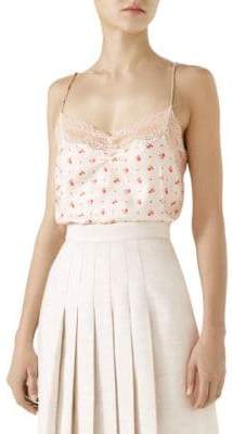 Gucci Lace Trim Rose Print Silk Tank