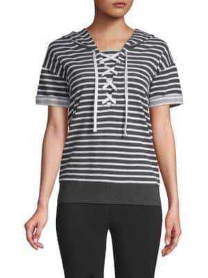 Striped Lace-Up Hooded Sweatshirt