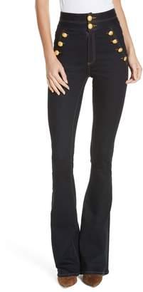Veronica Beard Dalida Button Detail Skinny Flare Jeans