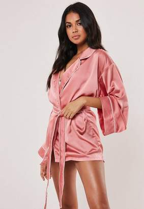 Missguided Pink Kimono Piped Detail Satin Dressing Gown