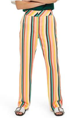 Topshop Rainbow Stripe Wide Leg Trousers