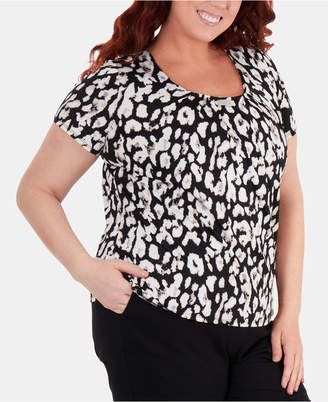 87bbe7acb52c1 NY Collection Plus Size Pleated-Neck Hardware-Trim Printed Top