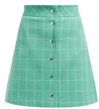 Sara Battaglia High Rise Checked Crepe Mini Skirt - Womens - Green White