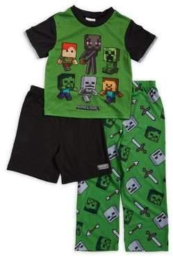 AME Sleepwear Boy's Three-Piece Graphic Pajama Set