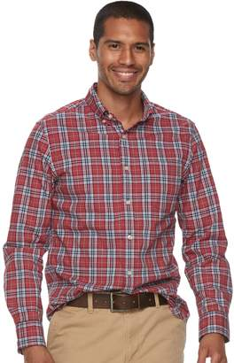 Sonoma Goods For Life Men's SONOMA Goods for Life Flexwear Slim-Fit Plaid Poplin Button-Down Shirt