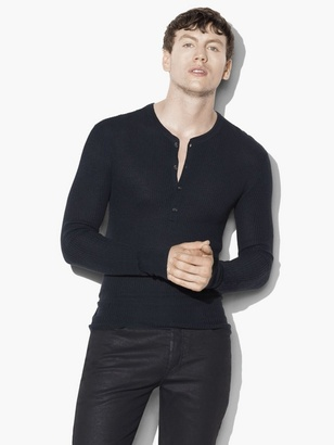Silk Cashmere Waffle Knit Henley $348 thestylecure.com
