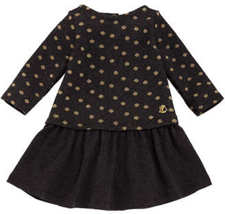 Petit Bateau Sparkle Polka-Dot Long-Sleeve Dress, Size 6-36 Months