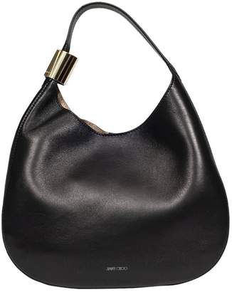 Jimmy Choo Shoulder Bag Stevie Hobo Bag In Smooth Nappa Leather With Maxi Metal Ring