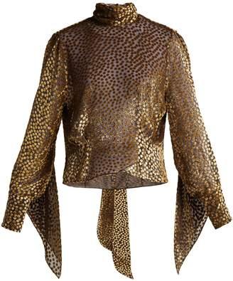 Petar Petrov Esra metallic fil-coupé chiffon blouse