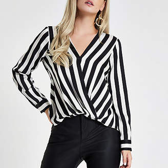 River Island Womens Petite Black stripe tuck front blouse