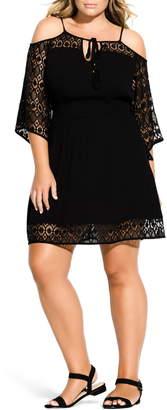 City Chic Crochet Cold Shoulder Dress