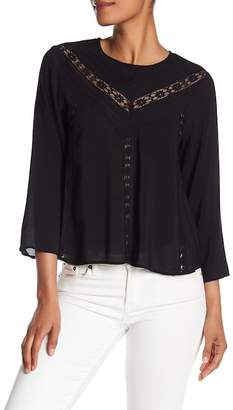 Michael Stars Lace Inset Cropped Blouse