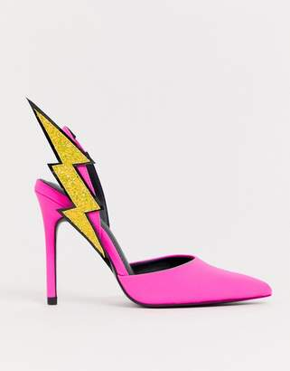 Asos Design DESIGN Pick up lightening bolt sling back high heels in neon pink
