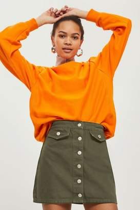Topshop MOTO Button Through A-Line Skirt