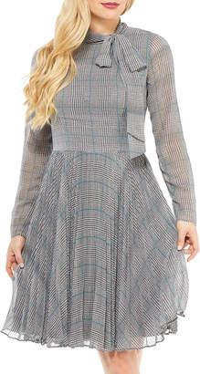 Maggy London Tie-Neck Glen-Plaid Chiffon Dress