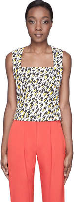 Thierry Mugler White Leopard Print Applique Tank Top