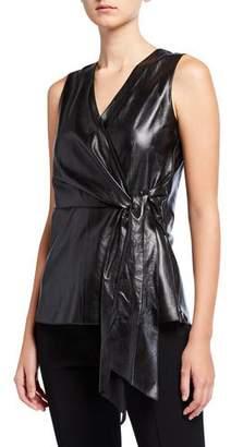 Lafayette 148 New York Olivia Sleeveless Supple Napa Leather Blouse
