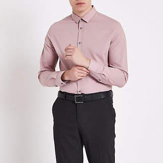 River Island Blush pink slim fit long sleeve shirt