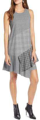 Halogen Sleeveless Plaid Mix A-Line Dress