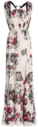 Roberto Cavalli Embellished Cutout Printed Silk Gown