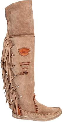 ... EL VAQUERO 20mm Fringed Over The Knee Suede Boots