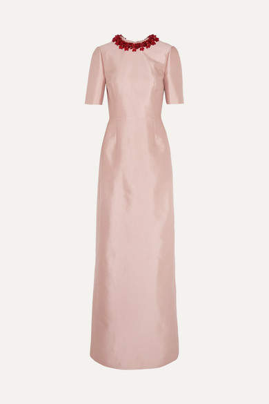 Prada - Embellished Wool And Silk-blend Gown - Antique rose