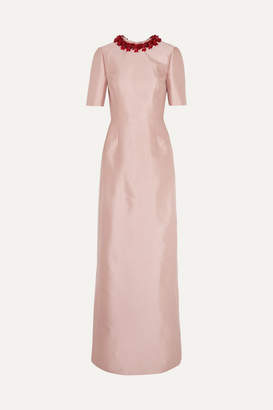 Prada Embellished Wool And Silk-blend Gown - Antique rose