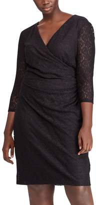 Chaps Plus Size Lace Surplice Faux-Wrap Dress