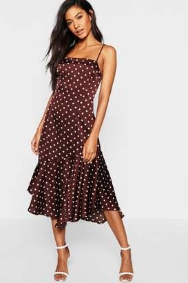 5d2bcc671e72 boohoo Satin Spot Print Flute Hem Midi Dress