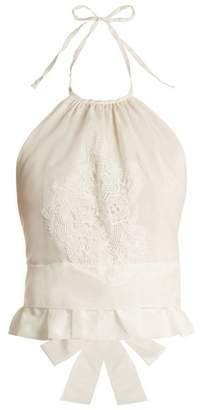 Lila Eugénie Lila Eugenie - 1845 Crochet Embellished Halterneck Voile Top - Womens - White