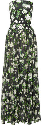 Caroline Constas Marianna Strapless Floral-print Stretch-jersey And Voile Maxi Dress - Black