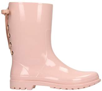 RED Valentino Low Heels Ankle Boots In Rose-pink Rubber/plasic