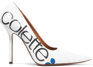 Vetements Colette Printed Leather Pumps - White