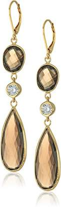 Swarovski Yellow Gold-Plated Sterling Silver Multi-shaped Earrings with Zirconia Accents