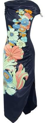 Peter Pilotto Floral-Print Shirred Satin Midi Dress