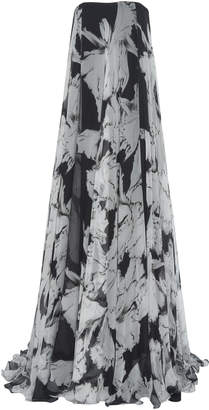 Costarellos Abstract-Patterned Strapless Chiffon Gown