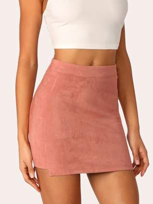 Shein Cut-and-sew Stepped Side Suede Skirt