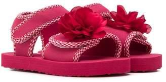 MonnaLisa floral touch-strap sandals