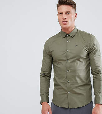 Jack Wills skinny fit poplin stretch shirt in khaki Exclusive at ASOS
