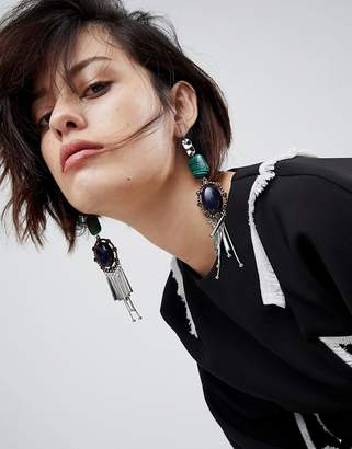 Asos DESIGN Statement Acrylic and Jewel Stick Earrings