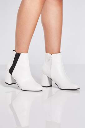 Quiz White Elastic Panel Heel Ankle Boots