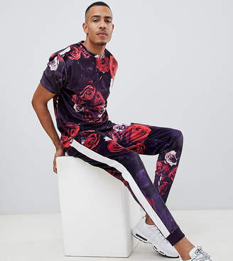 Asos DESIGN Tall two-piece skinny velour joggers in floral print with side stripe
