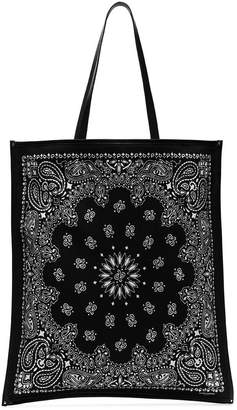 Saint Laurent Black Bandana print leather trim cotton tote bag