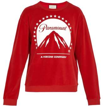 Gucci Paramount Print Velvet Sweater - Mens - Red