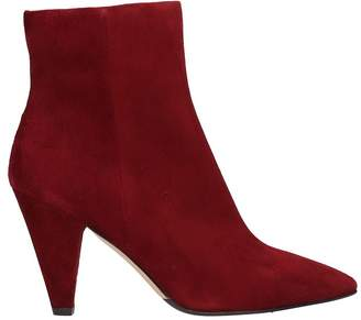 The Seller Pointed Toe Red Wine Suede Leather Ankle Boots