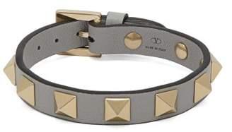 Valentino Rockstud Leather Bracelet - Womens - Grey