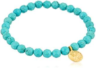 Satya Jewelry Turquoise Gold Plated Regeneration Lotus Stretch Bracelet