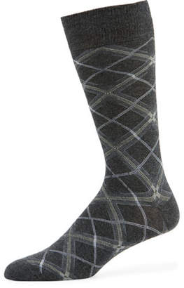 Neiman Marcus Men's Diagonal Plaid Socks