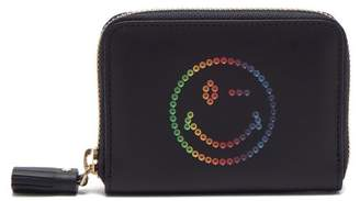 Anya Hindmarch Rainbow Wink Zip Around Leather Wallet - Womens - Navy Multi