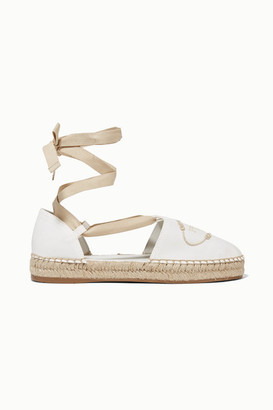 5a8734065c9 Prada Embroidered Canvas Espadrilles - White